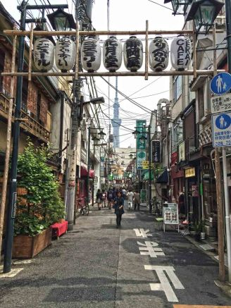 Street in an older area of Tokyo